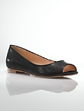 Perri Leather Peep-Toe Flats