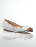 Perri Metallic Leather Peep-Toe Flats