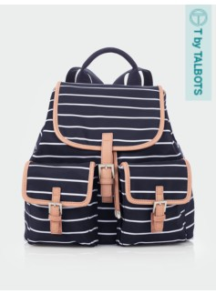Striped Buckle-Pocket Backpack