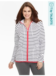 Weekend Stretch Sport Striped Hoodie