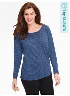 Striped Ruched Side Pullover Top
