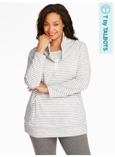 Textured-Stripe Cowlneck Top