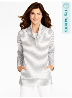 Textured-Stripe Cowlneck Top