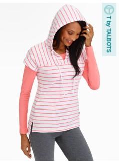 Cap-Sleeve Striped Hoodie