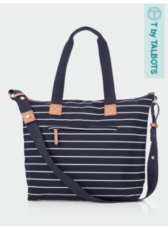 Striped Zip-Top Tote