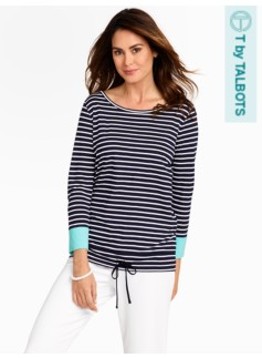 Schooner Stripes Colorblocked-Cuff Top