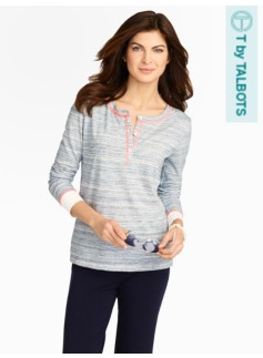 Blocked-Cuff Henley Top