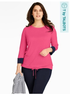Colorblocked-Cuff Top