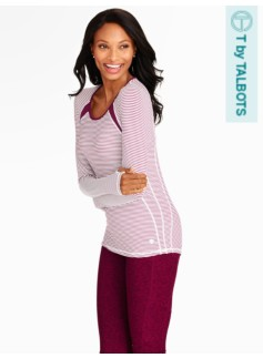 Performance Mini Knit Stripe Long Sleeve Tee