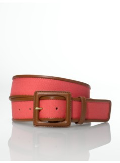 Canvas Leather-Buckle Belt