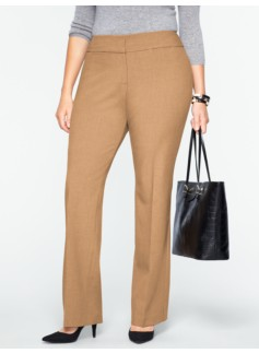Curvy Double-Weave Bootcut Pants