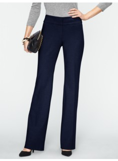 Curvy Double-Weave Bootcut Pants