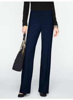 Hollywood Wide-Leg Double-Weave Pants