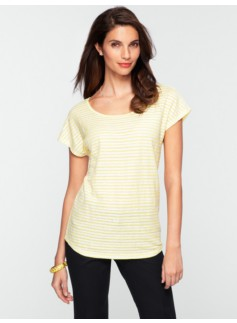 Sequin Stripe Cap-Sleeve Tee