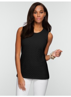 Crocheted Lace-Front Tee