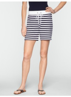 "5"" Stretch Weekend Terry Striped Drawstring Shorts"
