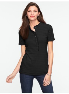 Ruffled Cotton Henley Polo
