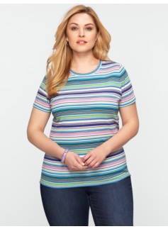 Pima Cotton Multi-Stripe Tee