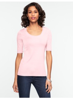 Pima Cotton Banded Scoopneck Tee