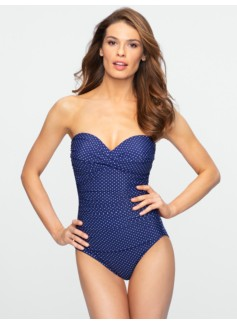 Barcelona Sweetheart Strapless Pin Dot Miraclesuit�