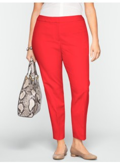 Curvy Double-Weave Cotton Ankle Pants