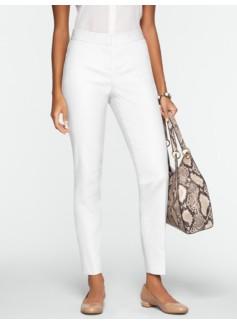 Curvy Double-Weave Cotton Ankle Pants