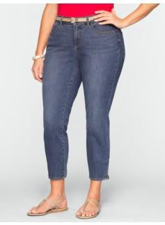 Slimming Curvy Medium Ocean Wash Crop Jeans