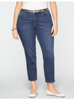 Slimming Heritage Medium Ocean Wash Crop Jeans