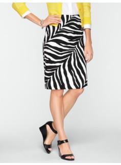 Cotton Zebra-Print Pencil Skirt