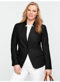 Linen Stand Collar V-Neck Jacket