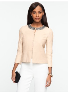 Beaded Jewel-Neck Jacket
