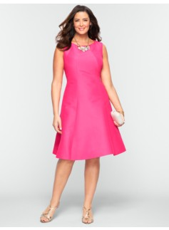 Faille Fit & Flare Panel Dress