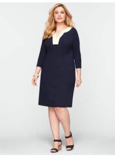 Colorblocked Trim Ponte Dress