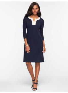 Colorblocked Trim Ponte Dress