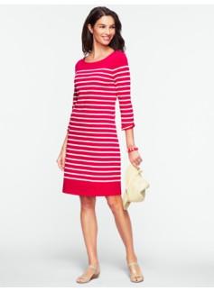 Slub-Knit Striped Tee Cotton Dress