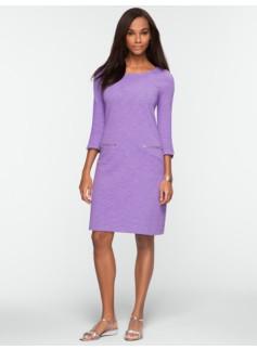 Slub-Knit Zip-Pocket Dress