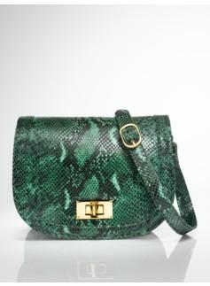 Python-Embossed Flap-Front Bag