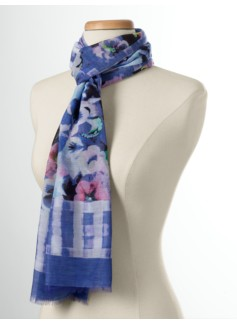 Watercolor Pansy & Check Scarf