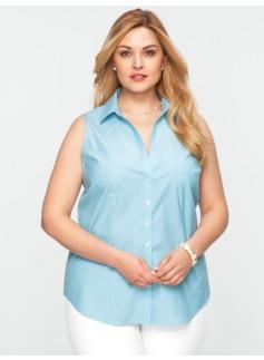 Wrinkle-Resistant Sleeveless Striped Shirt