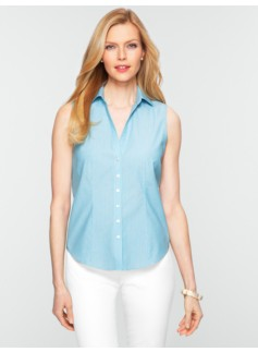 Wrinkle-Resistant Sleeveless Striped Shirt