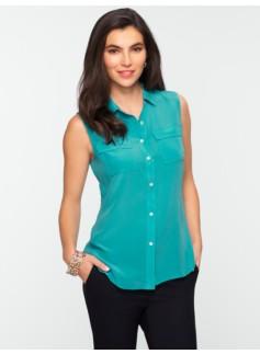 Washable Silk Sleeveless Pocket Shirt