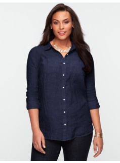 Long-Sleeve Crossed-Dyed Linen Shirt