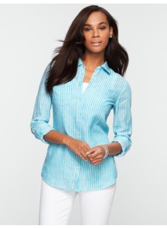 Long-Sleeve Striped Crossed-Dyed Linen Shirt