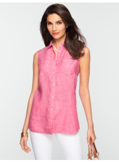 Sleeveless Crossed-Dyed Linen Shirt