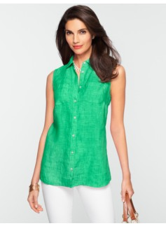 Sleeveless Crossed-Dyed Linen Shirt