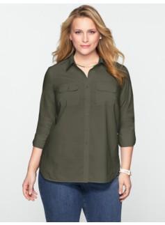Cotton Lawn Button-Front Shirt