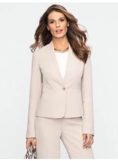 Seasonless Crepe Seamed Peplum Jacket