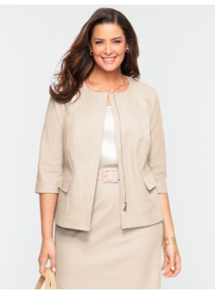 Cotton Viscose Jewel-Neck Jacket
