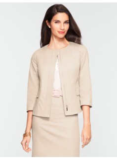 Cotton Viscose Jewel-Neck Jacket