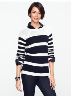 Eyelet-Stitch Stripe Sweater